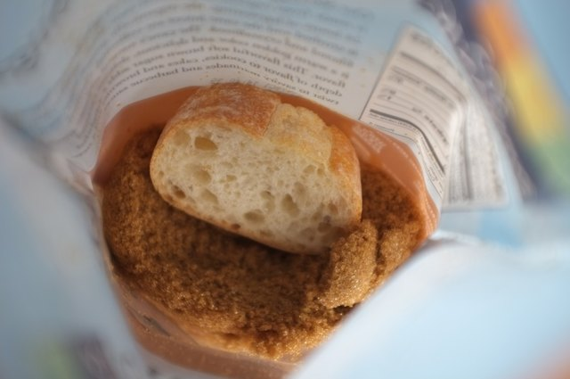 Place a slice of bread in with the brown sugar and seal