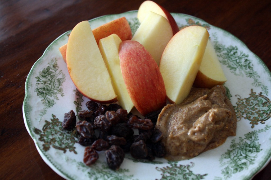 A snack plate looks like more food than individual pieces, and you can't overdo the PB since it's pre-portioned