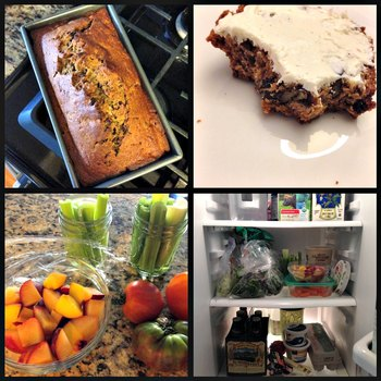 Clockwise: Whole wheat date nut bread; date nut bread slathered with whipped cream cheese; prepping healthy snacks; inside my fridge