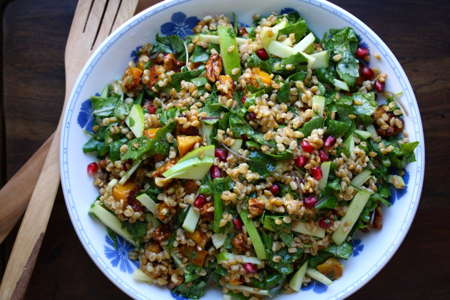 Wheat Berry Salad with Roasted Butternut Squash and Warm Cider Vinaigrette (Vegan)