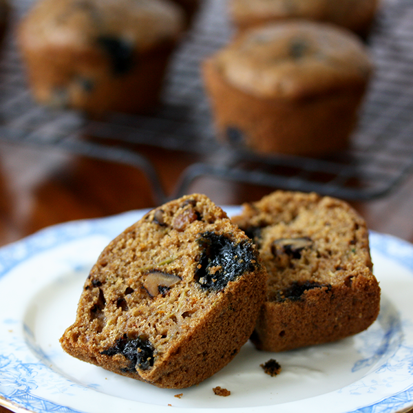 These wholesome whole wheat blueberry zucchini muffins are light and airy, and filled with healthy ingredients like walnuts, orange zest and blueberries